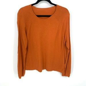 Eileen Fisher Orange Modal Nylon L/S Pullover Knit